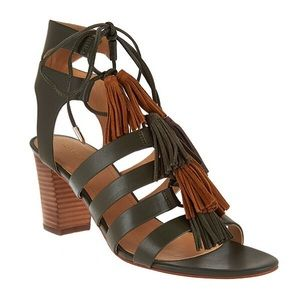 Marc Fisher Fringe Leather Lace-Up Sandals